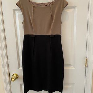 Tan and Black Career Work Dress